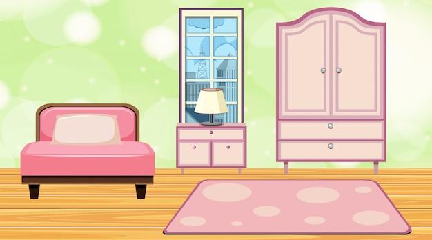 Pokój z różowymi meblami i dywanem