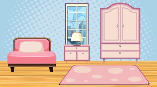 Pokój z różowymi meblami i niebieską tapetą