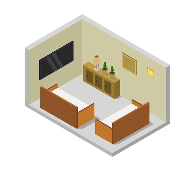 Pokój z telewizorem izometrycznym