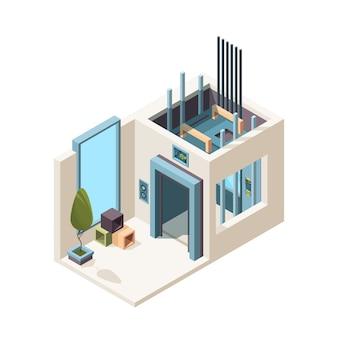 Pokój z windą. budowa mechanizmu kabiny windy w hali maszyn w izometrycznym wnętrzu mieszkania