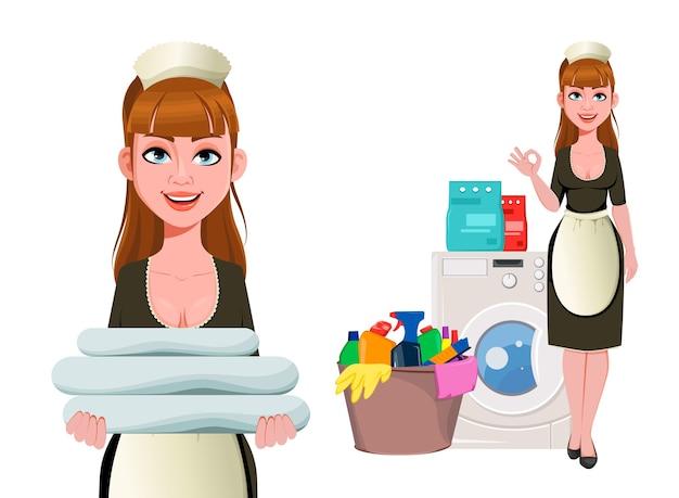 Pokojówka, sprzątaczka, uśmiechnięta sprzątaczka