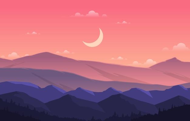 Pokojowy krajobraz górskiej panoramy w monochromatycznej płaskiej ilustracji