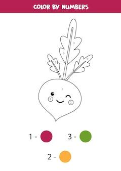 Pokoloruj słodkie buraki kawaii według liczb. gra edukacyjna dla dzieci. strona z zadaniami do druku dla dzieci.