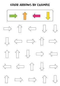 Pokoloruj strzałki według przykładu. gra matematyczna dla dzieci.