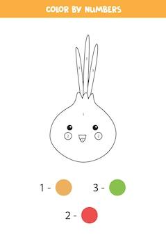 Pokoloruj uroczą cebulę kawaii według liczb. edukacyjna kolorowanka dla dzieci. arkusz roboczy do druku dla dzieci.