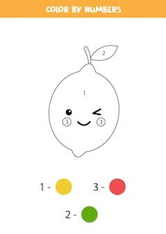 Pokoloruj uroczą cytrynę kawaii według liczb. gra edukacyjna z warzywami. arkusz matematyczny. nauka kolorowania i liczenia.