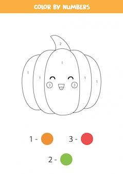 Pokoloruj uroczą dynię z kawaii według liczb. gra edukacyjna z warzywami. arkusz matematyczny. nauka kolorowania i liczenia.