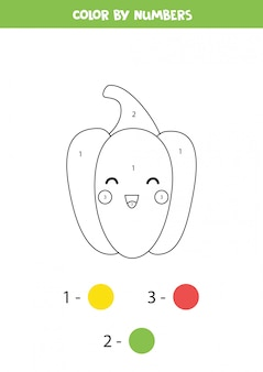 Pokoloruj uroczą żółtą paprykę kawaii według liczb.