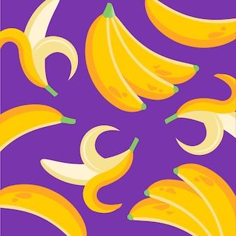 Pokrój banana i owoce tropikalne z naturalnego ekologicznego sklepu z żywnością ogrodową w darmowych wektorach