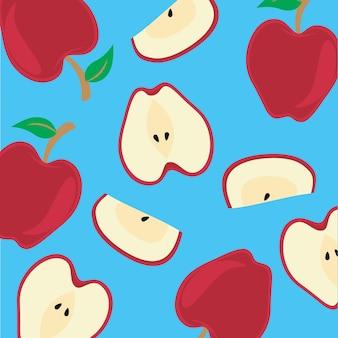 Pokrój czerwone jabłko owoc z naturalnego ekologicznego sklepu z żywnością ogrodową w darmowych wektorach