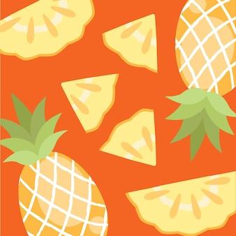 Pokrój lato ananasa i owoce tropikalne z naturalnego ekologicznego sklepu z żywnością ogrodową w darmowych wektorach