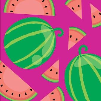 Pokrój lato arbuza i owoce tropikalne z naturalnego ekologicznego sklepu z żywnością ogrodową w darmowych wektorach