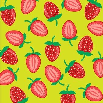 Pokrój owoce truskawki z naturalnego ekologicznego sklepu z żywnością ogrodową w darmowych wektorach