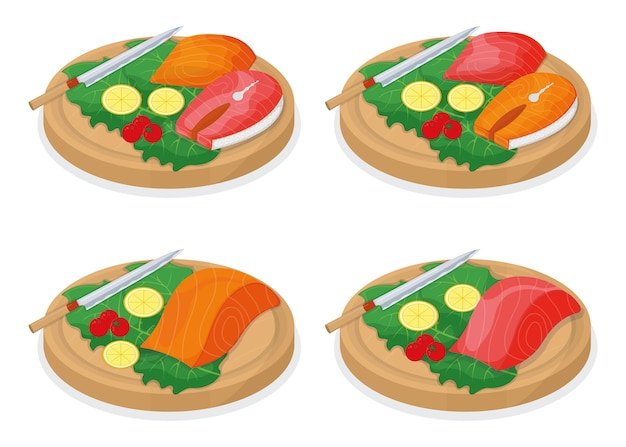 Pokrój tuńczyka i łososia strzebla na drewnianej kuchni deska koncepcja na białym, ilustracja kreskówka biały.