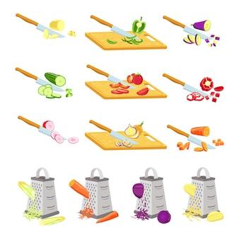 Pokrój warzywa na pokładzie. nóż do krojenia cebuli, pomidora i rzodkiewki na drewnianych deskach. tarka pocierać marchewkę. przepis gotowania plasterki wektor zestaw. ogórek i papryka, sałatka i pomidor pokrojony nożem
