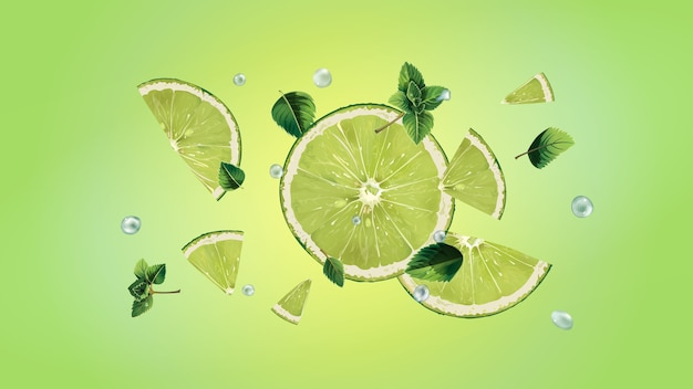 Pokrojona limonka z liśćmi mięty i kroplami wody rozrzucają się w różnych kierunkach. realistyczna ilustracja.