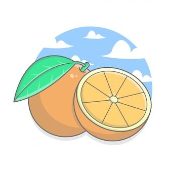 Pokrojona pomarańcze z chmury i nieba tłem
