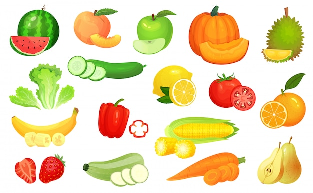 Pokrojone potrawy. pokrojone warzywa i pokrojone owoce. posiekaj warzywa, owoce i jagody plasterek ilustracja kreskówka zestaw