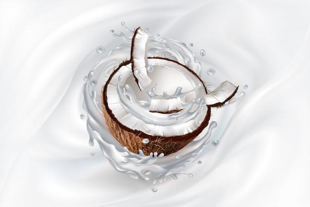 Pokrojony kokos w mlecznym rozpryskiwaniu.