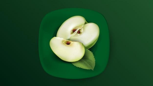 Pokrojony zielony jabłko na zielonym talerzu.