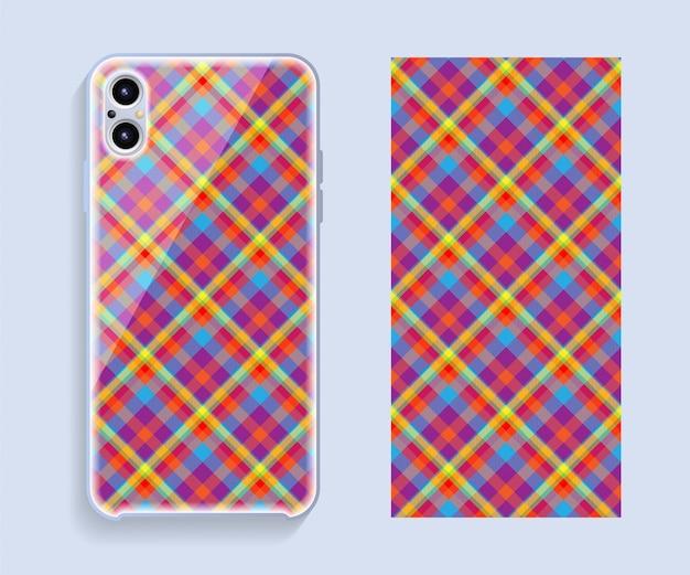 Pokrowiec na smartfona. szablon geometryczny wzór tylnej części telefonu komórkowego.