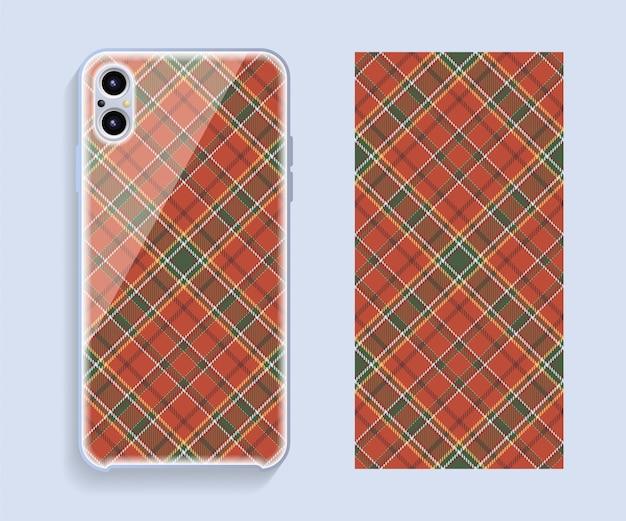 Pokrowiec na telefon komórkowy. szablon wzoru etui na smartfona.