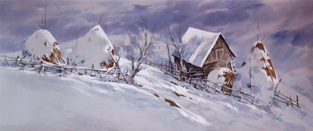 Pokryte śniegiem akwarela ręcznie rysowane góry ilustracja