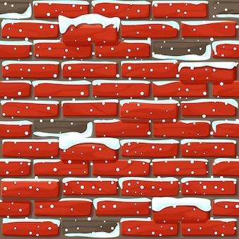Pokryte śniegiem ceglane ściany tekstura bez szwu. ilustracja kamienie ściany. wzór.