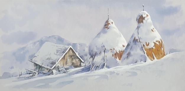 Pokryte śniegiem dekoracje pejzażowe akwarela