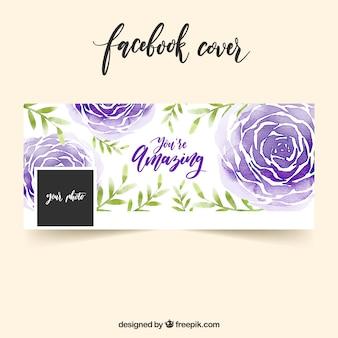 Pokrywa facebook z akwarelą róże purpurowe