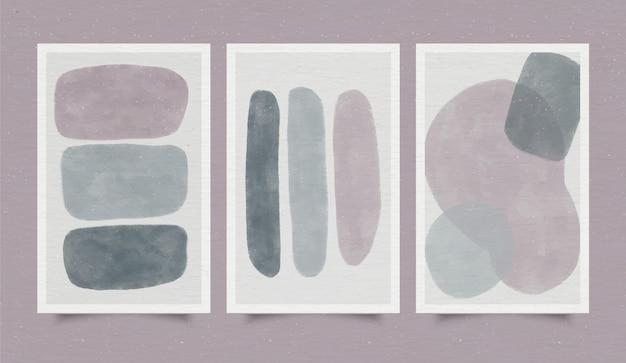 Pokrywa zestaw abstrakcyjne kształty akwarela