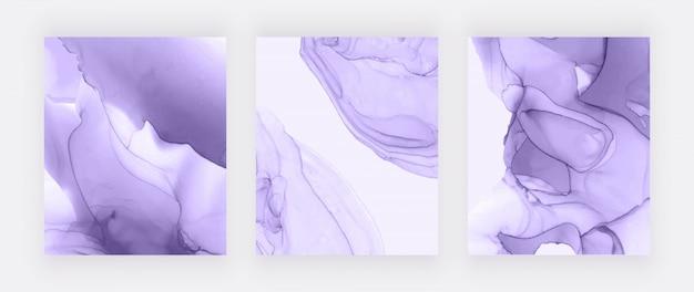 Pokrywy z fioletowym tuszem alkoholowym. streszczenie ręcznie malowane tła.