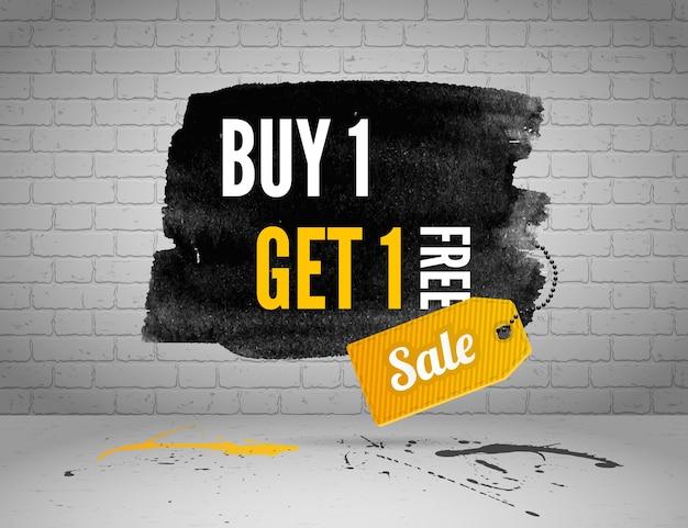 Pół ceny sprzedaży transparent akwarela z plamami atramentu na tle grunge białej cegły