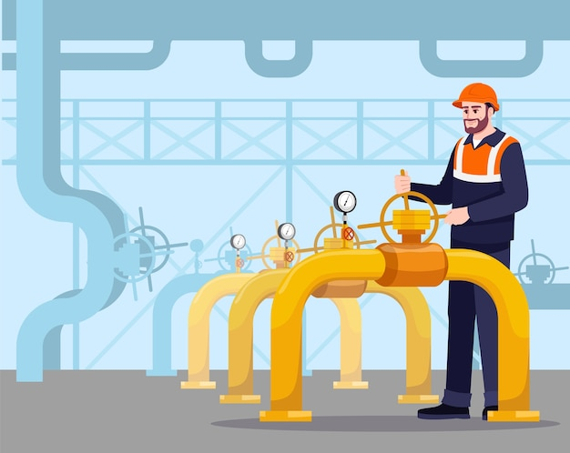 Pół ilustracji konserwacji rurociągu. gasman pracuje. produkcja paliw. rury do transportu ropy naftowej. postać z kreskówki mężczyzna robotnik przemysłu gazowego do użytku komercyjnego