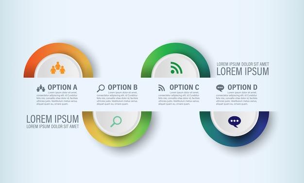 Pół kolorowe koło infographic szablon z 4 ikony