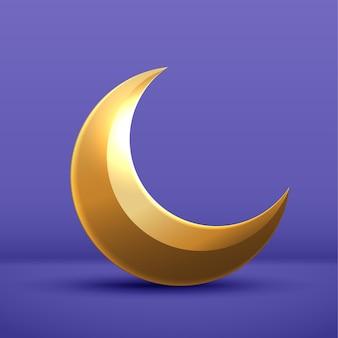 Pół miesiąca księżyca jest złoty na fioletowym tle. element wystroju półksiężyca na obchody ramadanu kareem. projekt wektor.