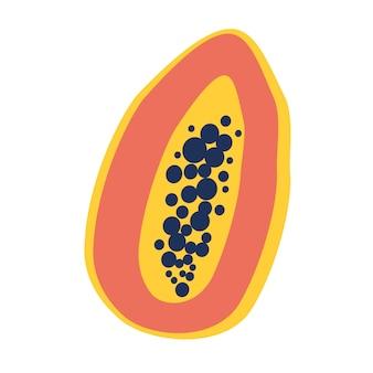 Pół papai. dojrzała papaja z nasionami. owoce, zdrowa żywność, witaminy. druk, baner, etykieta, plakat, naklejka, logo. ilustracja wektorowa.