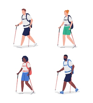 Pół-płaski zestaw znaków dla turystów pieszych. figurki backpackers.