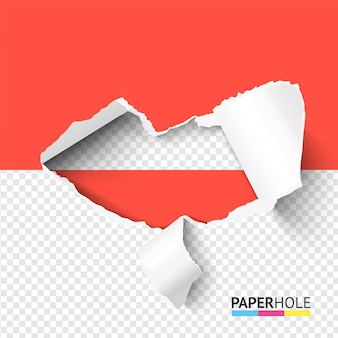 Pół pusty otwór podarty papier z poszarpaną krawędzią.