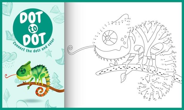 Połącz grę dla dzieci w kropki z uroczą ilustracją postaci kameleona