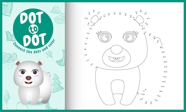 Połącz grę w kropki dla dzieci i kolorowankę z ilustracją uroczego niedźwiedzia polarnego