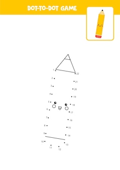 Połącz grę w kropki z ołówkiem rysunkowym arkusz edukacyjny