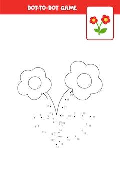 Połącz grę w kropki z uroczym czerwonym kwiatkiem arkusz edukacyjny