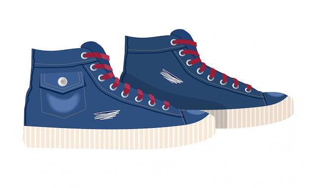 Połącz jeansowe tekstylne tenisówki z gumowym noskiem i luźnym sznurowaniem. ilustracja. vintage niebieskie trampki. buty współczesnych łyżwiarzy młodzieżowych. na białym tle