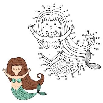 Połącz kropki, aby narysować śliczną syrenę i pokoloruj ją. liczby edukacyjne i kolorowanki dla dzieci. ilustracja