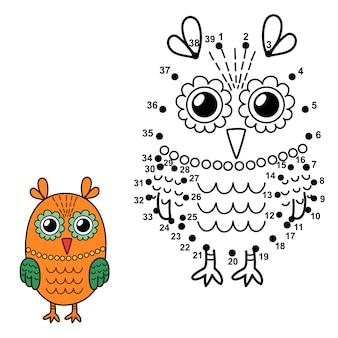 Połącz kropki, aby narysować słodką sowę i pokolorować ją. liczby edukacyjne i kolorowanki dla dzieci. ilustracja