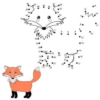 Połącz kropki, aby narysować uroczego lisa i pokolorować go. liczby edukacyjne i kolorowanki dla dzieci. ilustracja