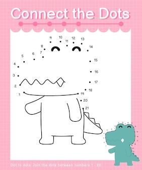 Połącz kropki alligator - gry typu kropka-kropki dla dzieci liczące od 1 do 20