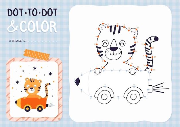 Połącz kropki arkusz z tygrysem