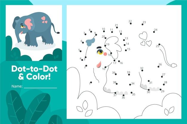 Połącz kropki arkusz ze słoniem